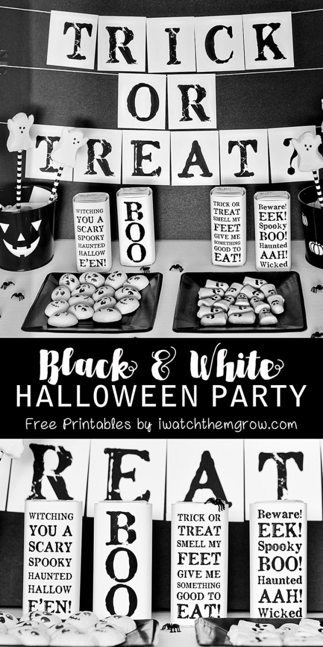 Create a chic, black and white kids' Halloween party in just minutes (and with only a teensy bit of ink) with these free black and white Halloween party printables!