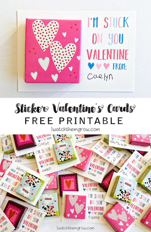 """I'm stuck on you Valentine"" free printable sticker Valentine's cards - so cute! Perfect for that affordable non-candy Valentine that kids will love!"