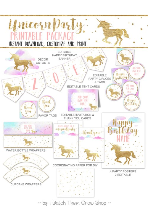Pretty unicorn party printables by I Watch Them Grow