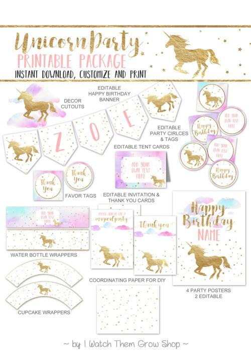 Pretty unicorn party printables by I Watch Them Grow