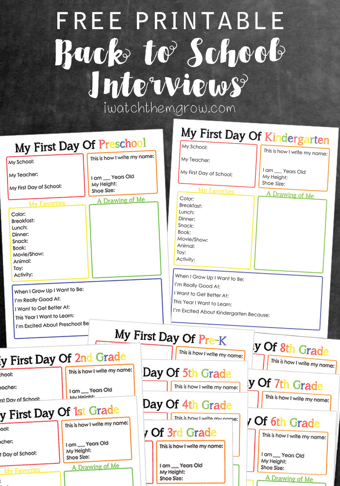 image regarding First Day of School Interview Printable known as Printable Back again in the direction of College or university Job interview - I See Them Mature