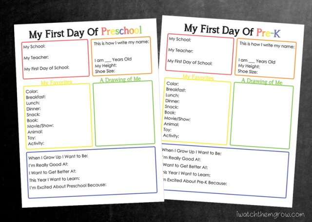 Free printable back to school interview from Preschool up to 8th Grade!