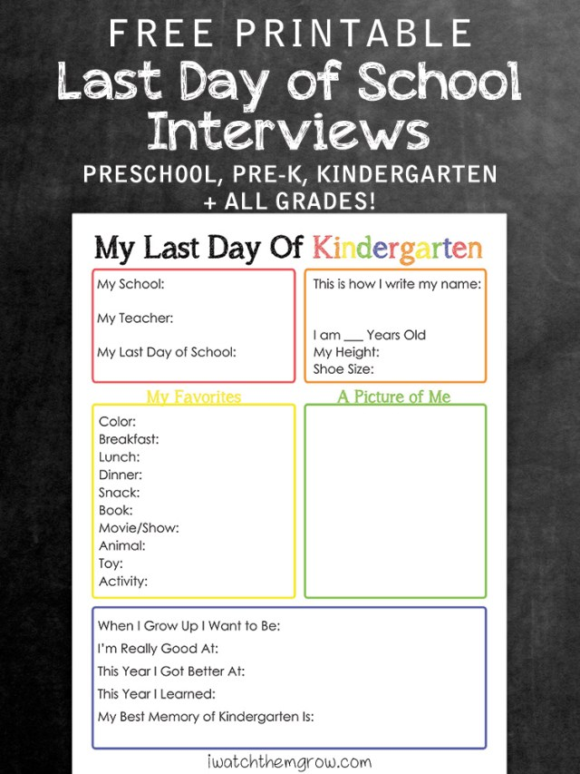 Free printable last day of school interview, for kindergarten, pre-k, preschool and 1st grade up to 12th grade!