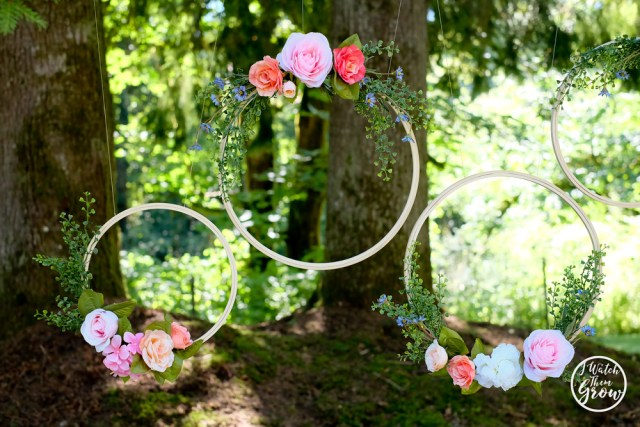 Fairy tea party backdrop - make your own floral hoops!