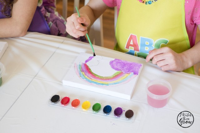 Rainbow party activities - painting rainbows