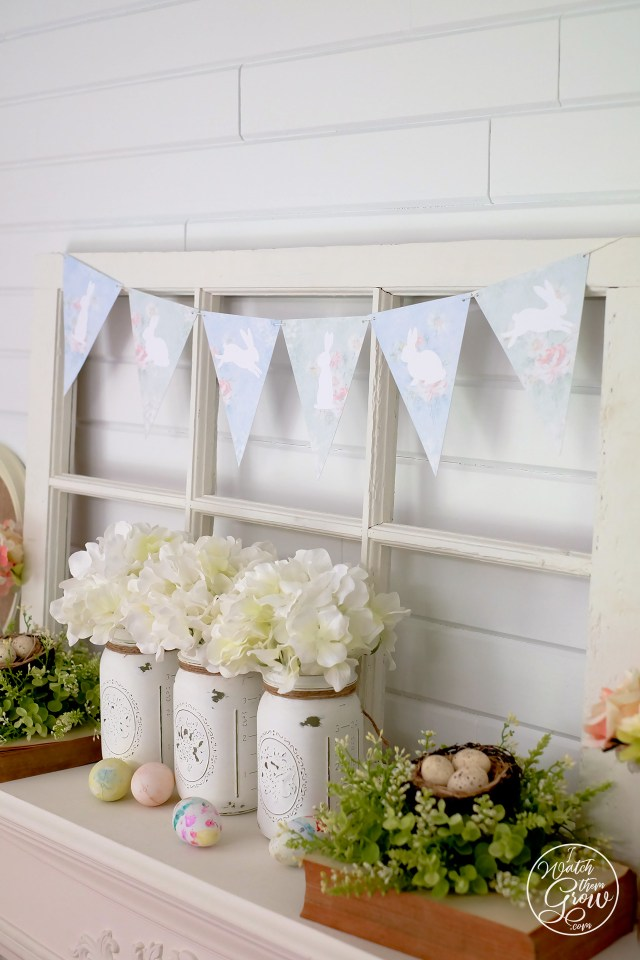 Easter mantle decor with free printable bunny bunting
