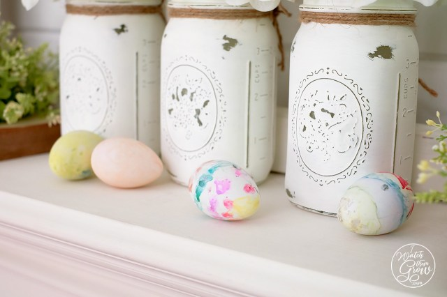 Easter mantle decor with watercolor Easter eggs