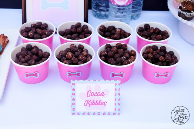 """Cocoa Kibbles"" tent card, and a puppy chow style treat made with Corn Pops cereal and Nutella!"