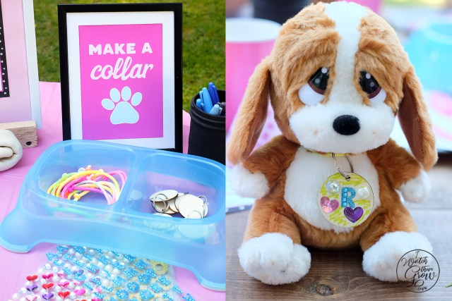 Great craft activity for a puppy party! Make a collar and decorate a dog tag for your new puppy.