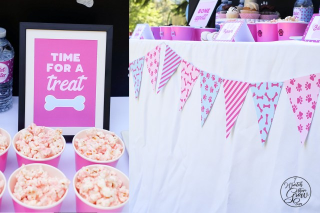 """Time for a treat"" framed sign. Puppy party flag bunting on the desert table."