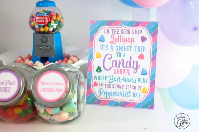 """Good Ship Lollipop"" Candy party sign"