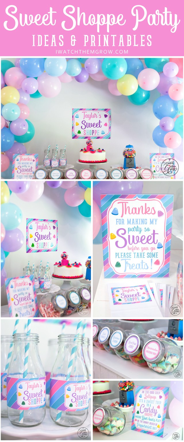 Sweet Shoppe party ideas and printables by I Watch Them Grow