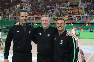 Matt with his crew Sebastien Gauthier and Cristian Roja for the Rio 2016 Gold Medal game