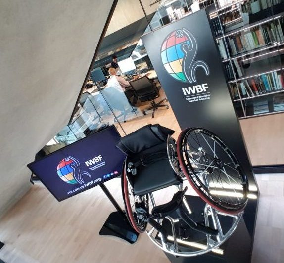 Wheelchair basketball display in the House of Basketball exhibtion