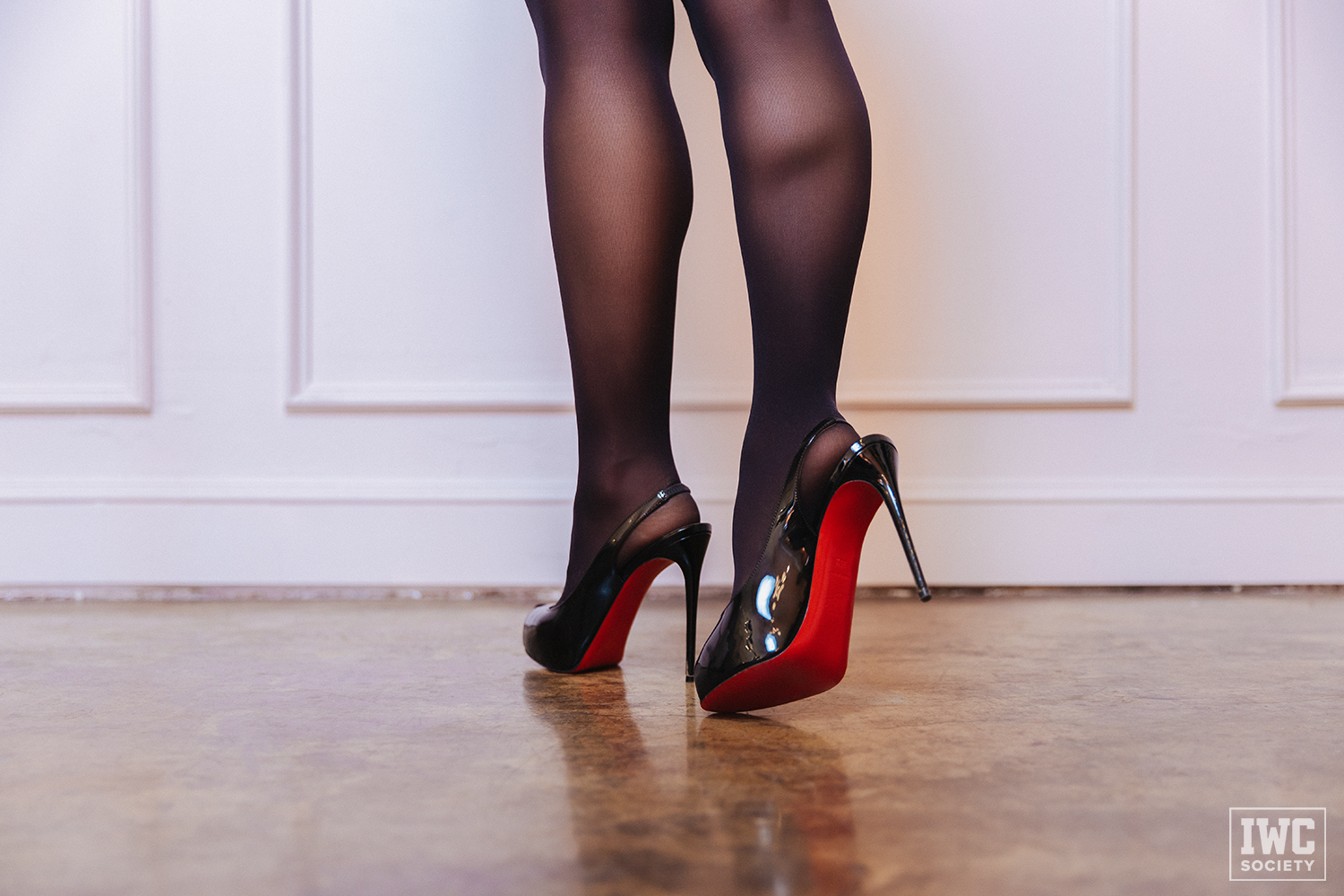 FinDom Princess Violet calves in stockings and close up of feet in high heels with red bottoms