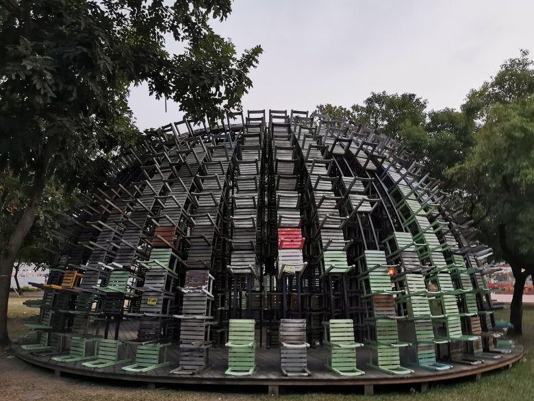 Dome made of chairs