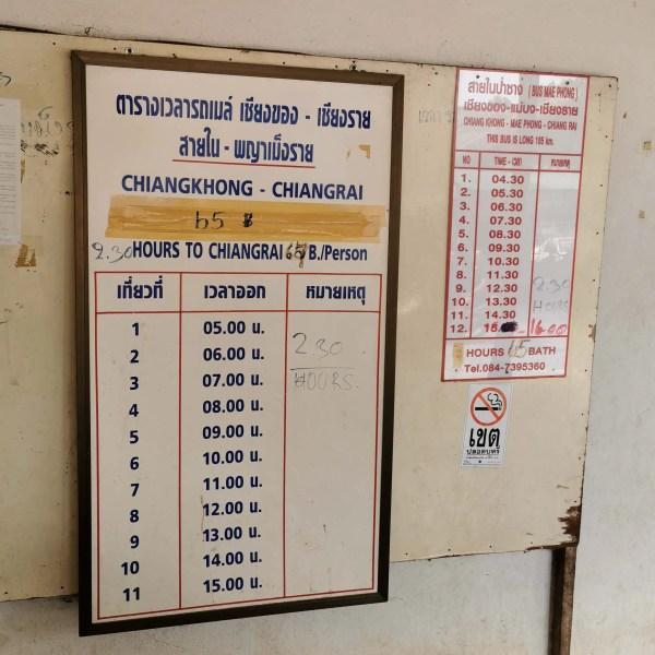 chiangkhong to chiang rai bus schedule