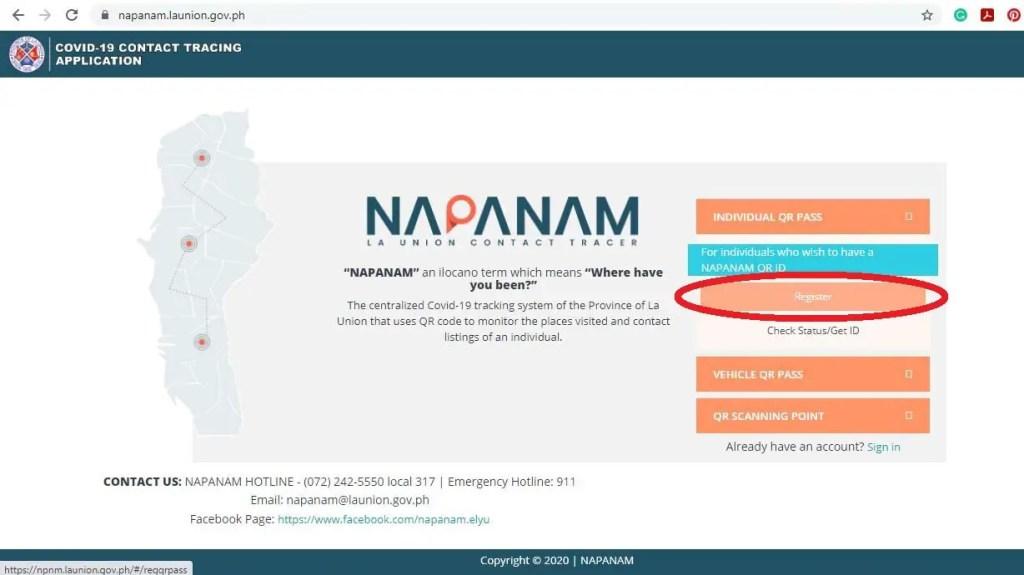Napanam QR Code procedure