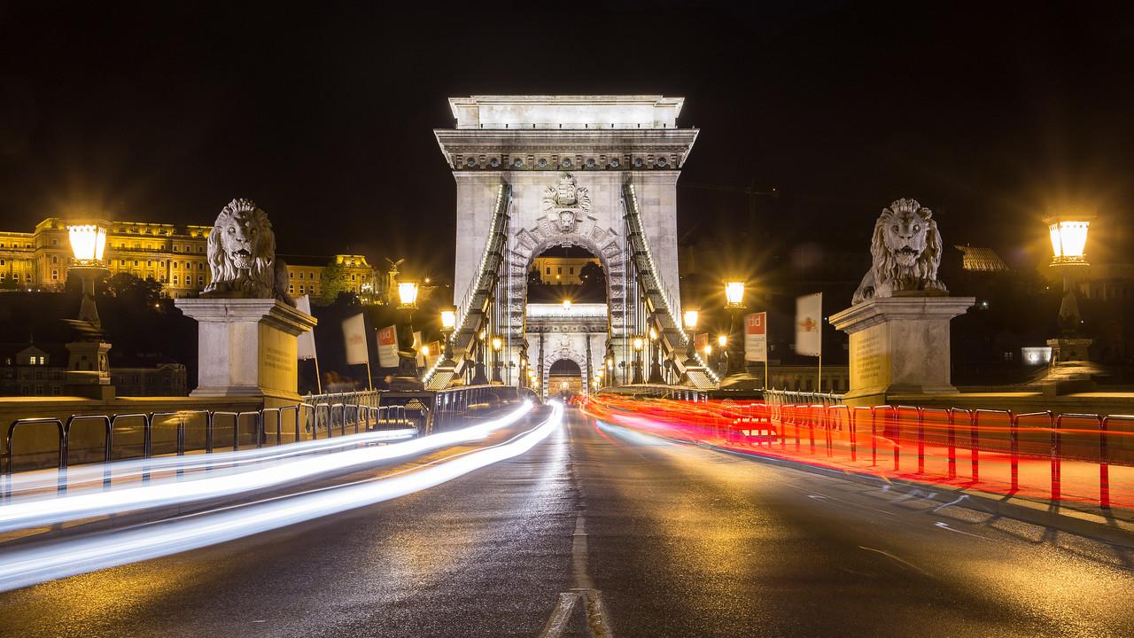 Budapest Chain Bridge with lighttrails