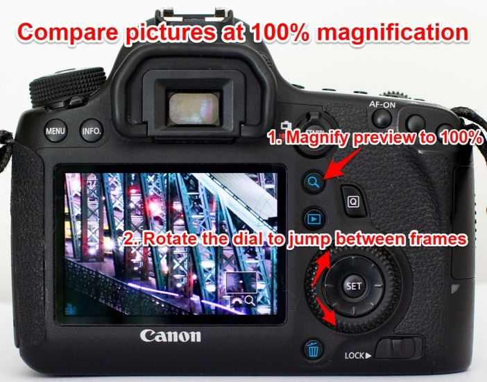 Compare pictures at 100% in the camera