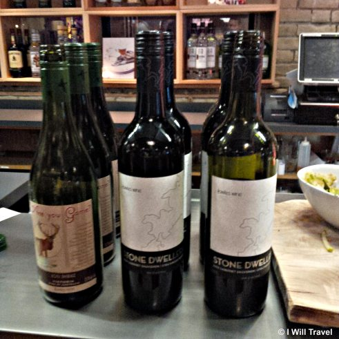 Bottles of Australian wine displayed on top of the bar