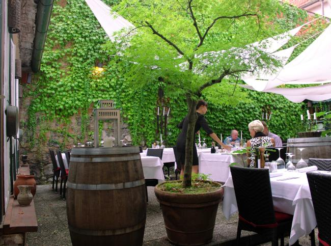 The courtyard at Spajza Restaurant, in Ljubljana, Slovenka