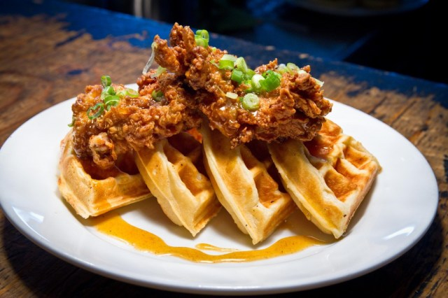 A plate of Chicken and Waffles