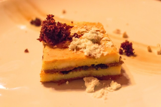 Olive Tapenade New York Style Cheesecake - Olive marmalade, black olive caramel, coffee crunch, coffee jelly, banana