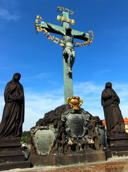 The Crucifix and Calvary statue on Charles Bridge