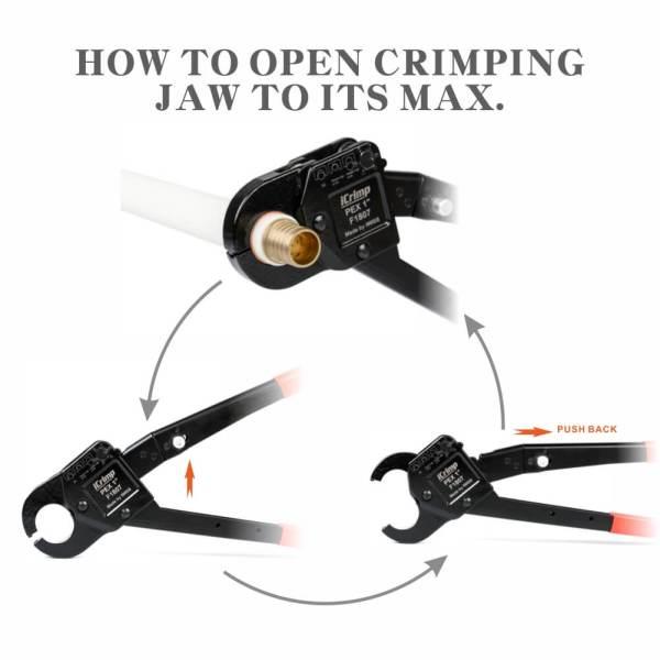 Cómo abrir la mordaza al máximo IWS-1234C F1807 Kit de herramientas de engarce de anillo de cobre de ángulo combo