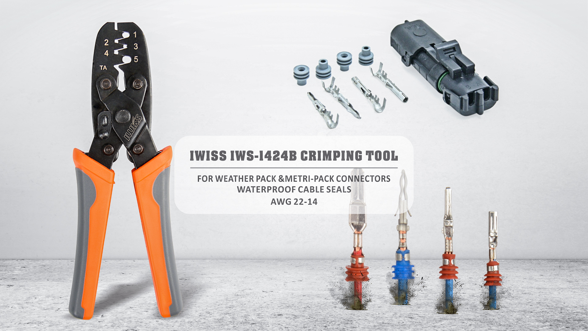 IWISS Weather Pack Terminal Crimping Tool Wire Crimper for Delphi Metri-Pack 1