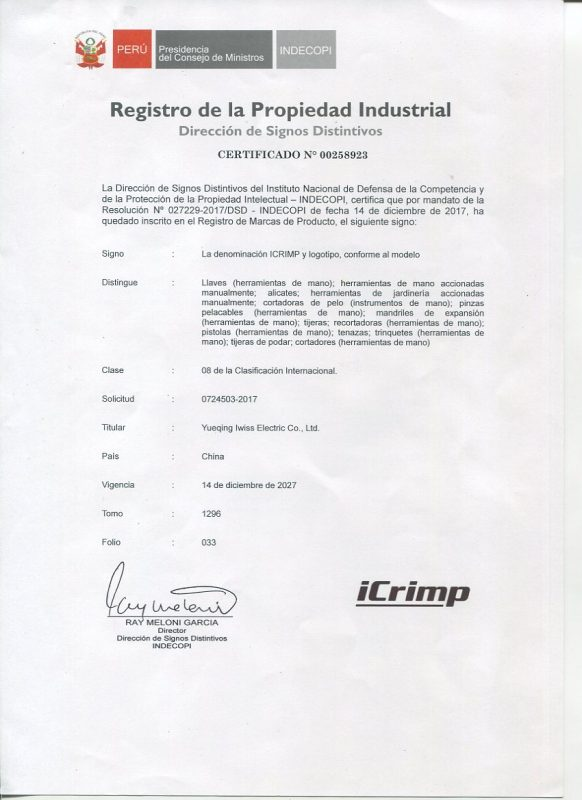iCrimp PERU Certification