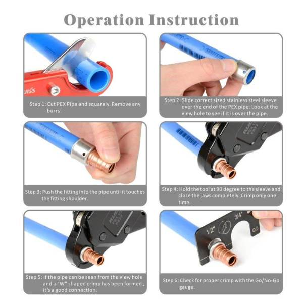 Instruction of Angled Head PEX Crimping Tool IWS-0611 1-2 inch