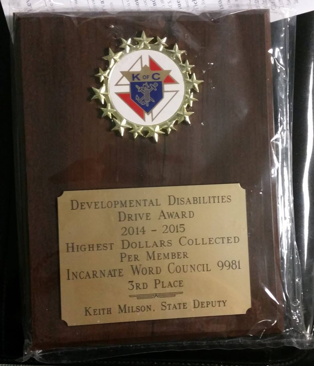 IWKnights DD Drive Award - 3rd Most Money Collected per Member (2014-2015)