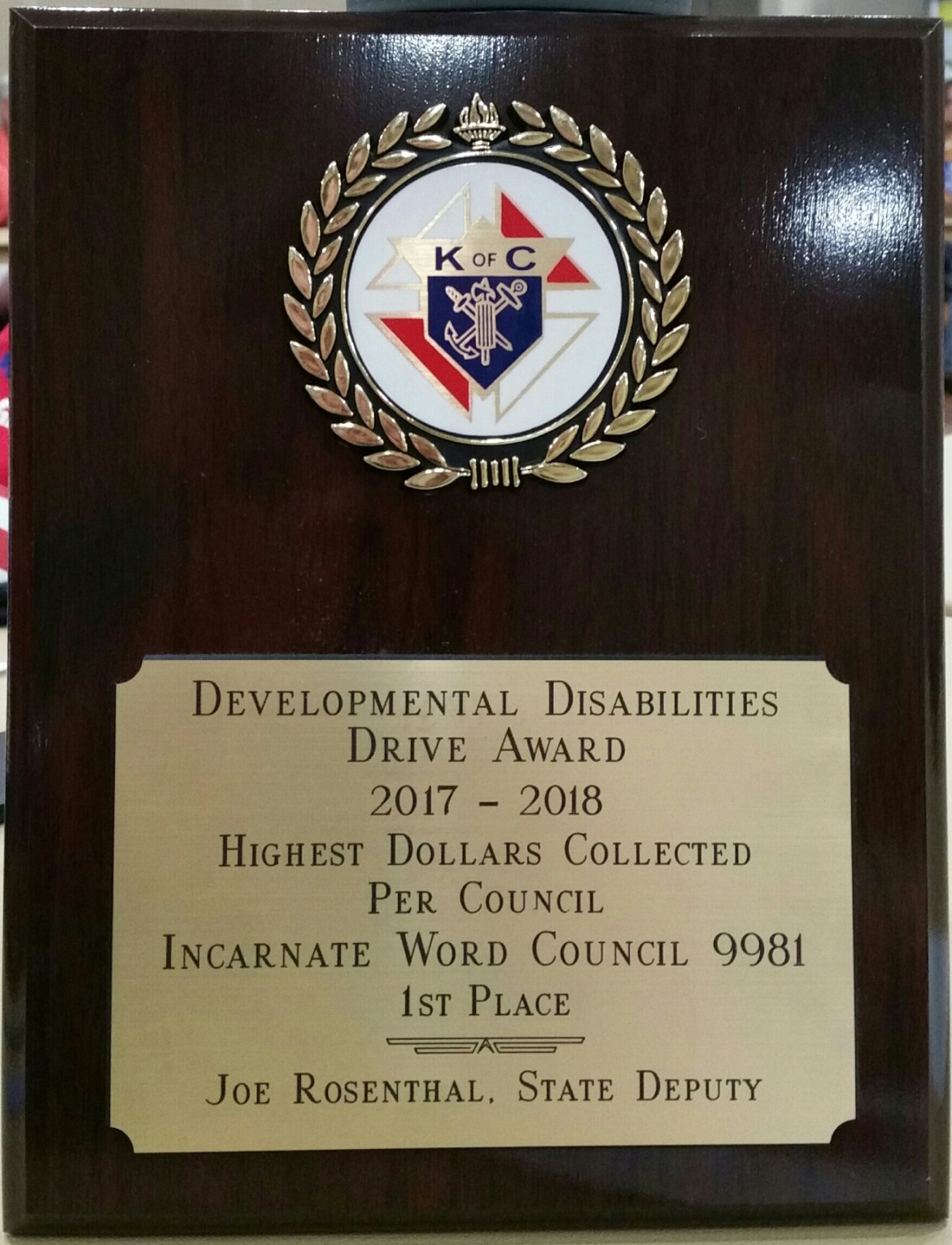 IWKnights DD Drive Award Most Money Collected(2017-2018)