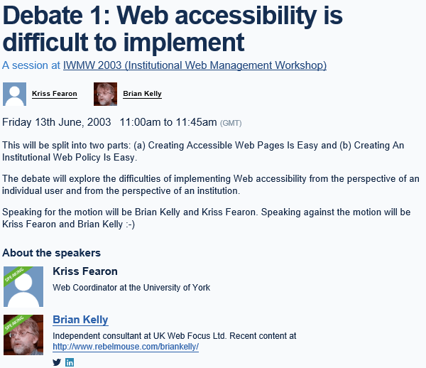 Looking Back at Web Accessibility Sessions