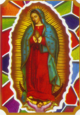 Virgin de Guadalupe with coloured glass around - 1