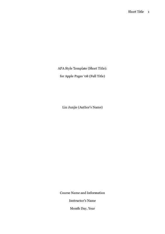 APA Style Research Paper With References Cover Page