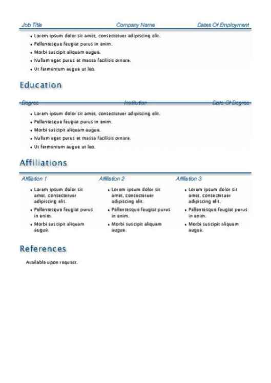 blue accent resume with cover page back - Resume With Accent