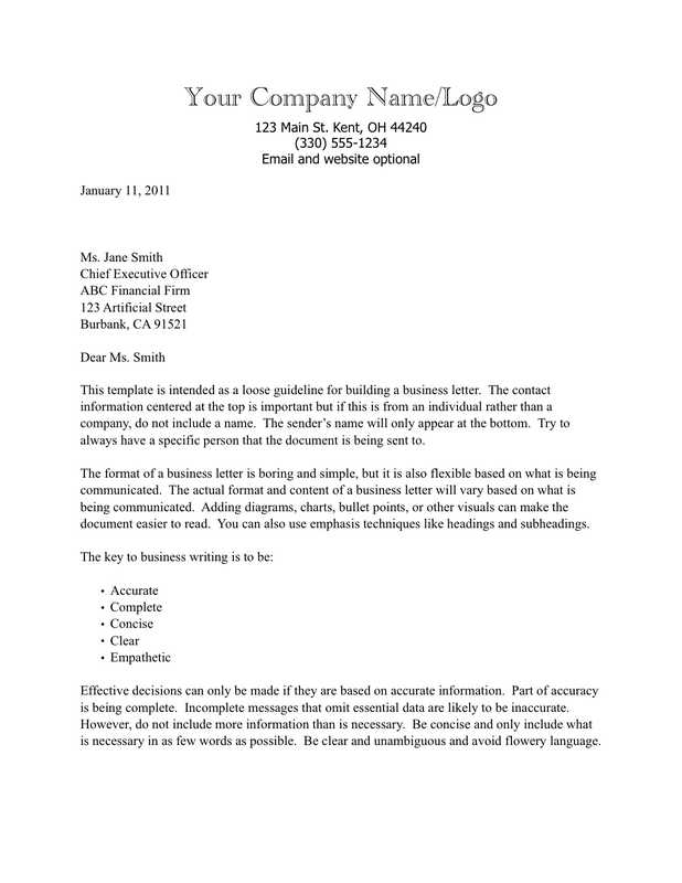 Business Letter Format Template On Letterhead.  Business Letter with Text Based Letterhead iWorkCommunity