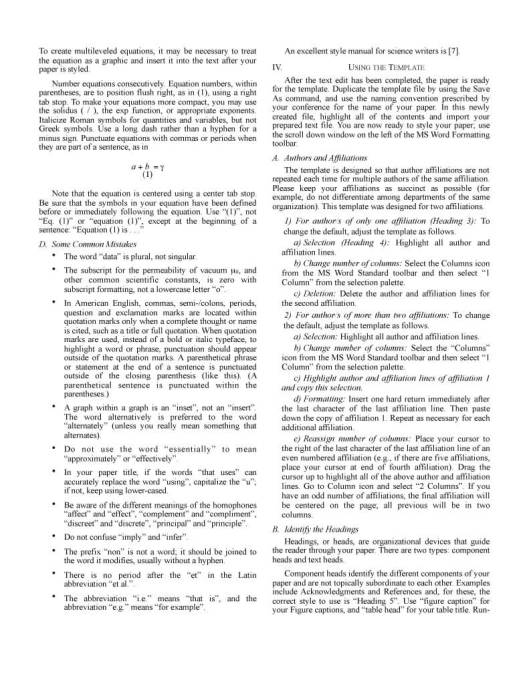 IEEE Conference Manuscript Page Two