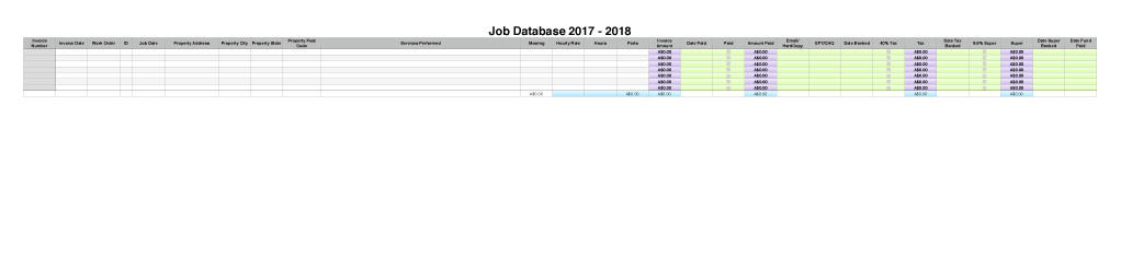 Small Business Accounting Workbook Job Database