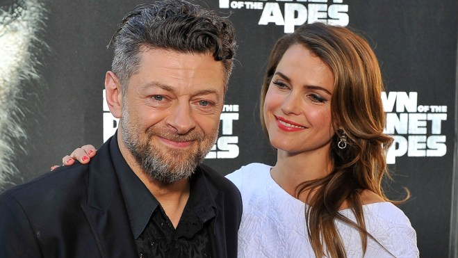 """SAN FRANCISCO, CA - JUNE 26: (L-R) Andy Serkis and Keri Russell attend the premiere of """"Dawn of the Planet of the Apes"""" at Palace Of Fine Arts Theater on June 26, 2014 in San Francisco, California. (Photo by Steve Jennings/WireImage)"""