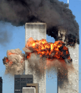 World Trade Center north tower explosion.