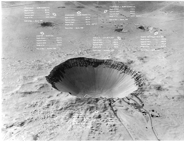 Sedan Crater and Nearby Craters Annotated