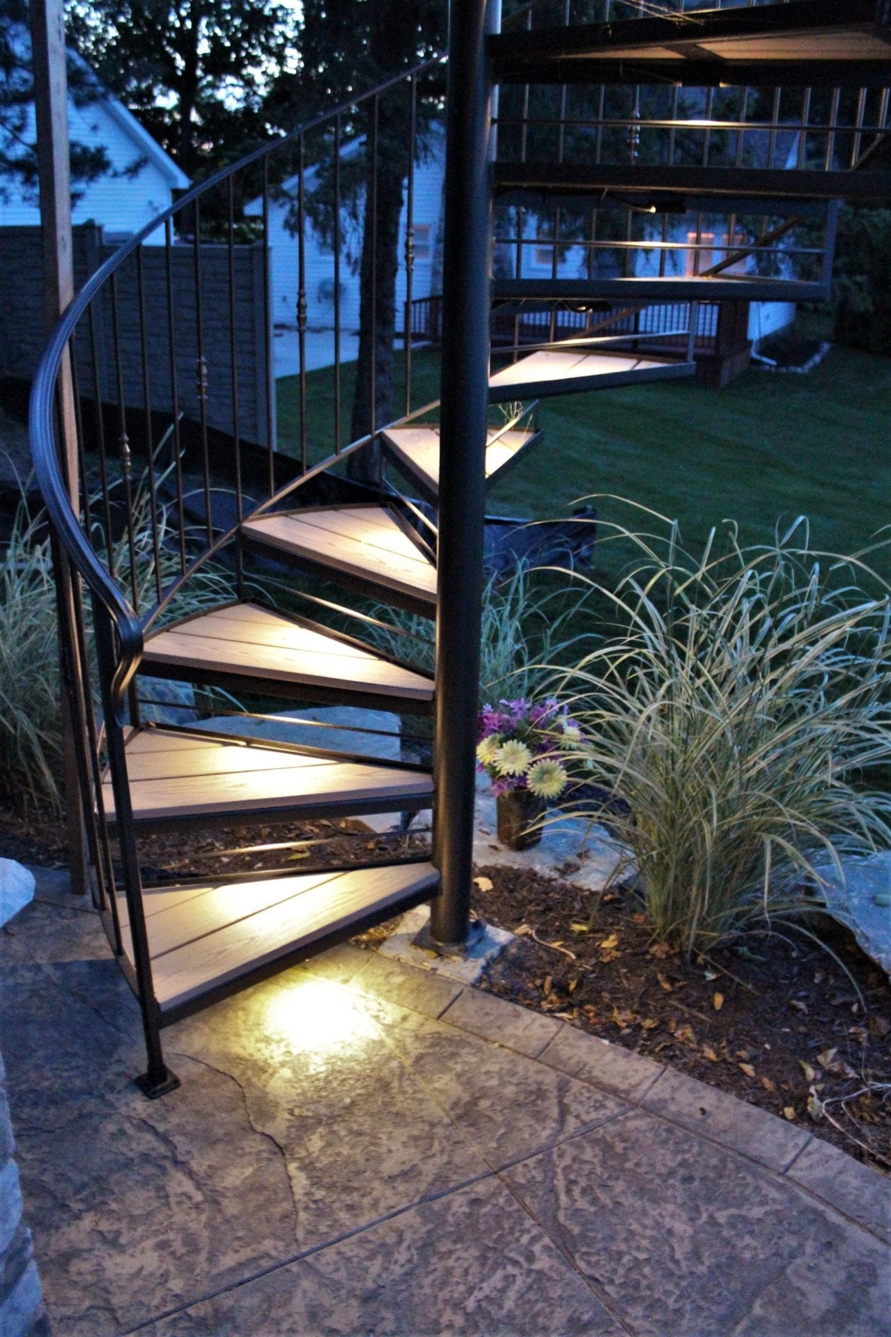 Spiral Stairs For Deck And Patio Great Lakes Metal Fabrication   Outdoor Spiral Staircase Installation   Simple   3 Floor   Outdoor   Backyard   Roof Deck