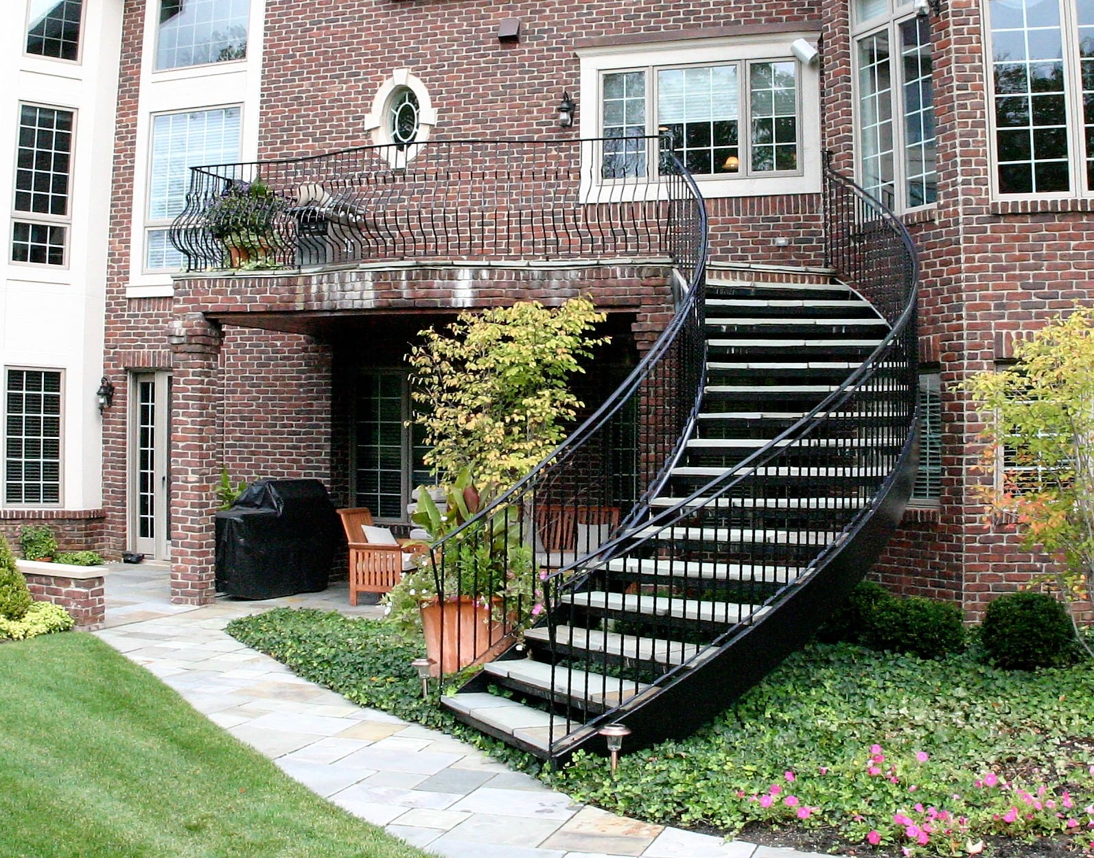Curved Staircase Wrought Iron Belly Rail Great Lakes Metal Fabrication