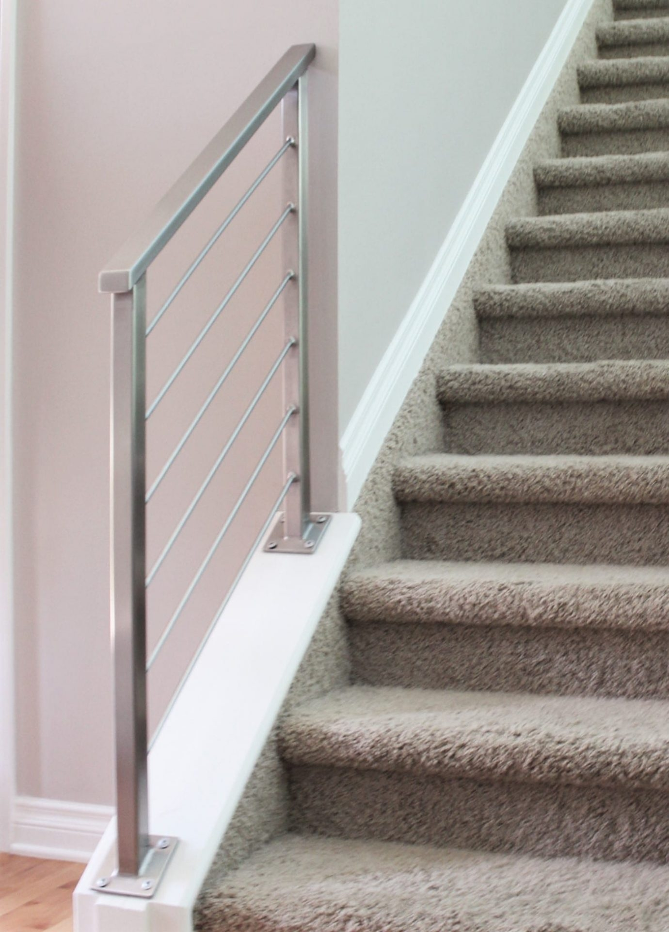 Horizontal Railing In Stainless Steel Great Lakes Metal Fabrication | Modern Stainless Steel Staircase Railing | Modular Steel | Hand | Crystal Handrail | Contemporary | Exterior
