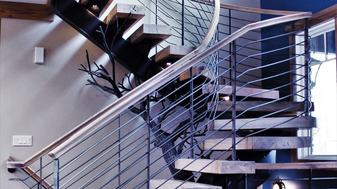 Spiral Staircase Manufacturer Great Lakes Metal Fabrication | Metal Railing Designs Stairs | Front Porch Stair Railing | Banister | Residential | Caramel | Rustic