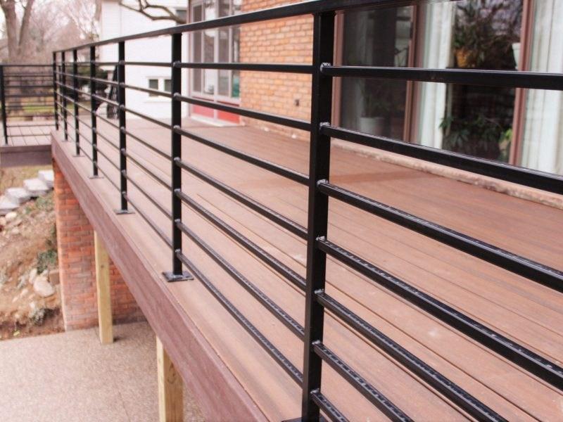 Horizontal Metal Railing For Deck Great Lakes Metal Fabrication | Iron And Wood Railing | Modern | Brown | Front | Horizontal | Craftsman